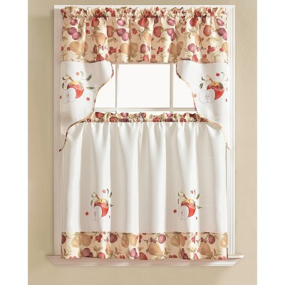 Ramallah Trading Urban Embroidered Apple Tier and Valance - 60 x 36, Beige