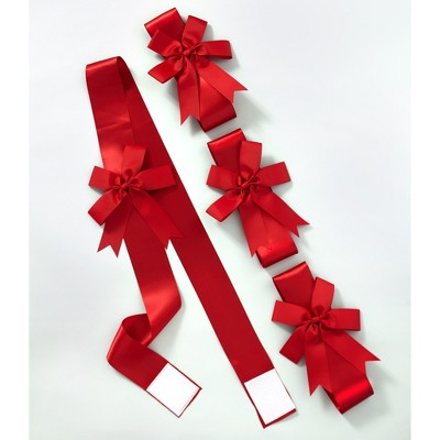 Lakeside Red Holiday Ribbons for Use on Furniture and Room Accents - Set of 4