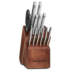 KitchenAid 14pc Stainless Steel Knife Block Set Maple