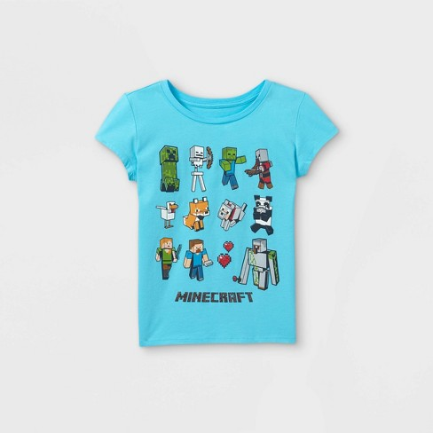 Girls' Minecraft Characters Short Sleeve Graphic T-Shirt - Blue - image 1 of 2