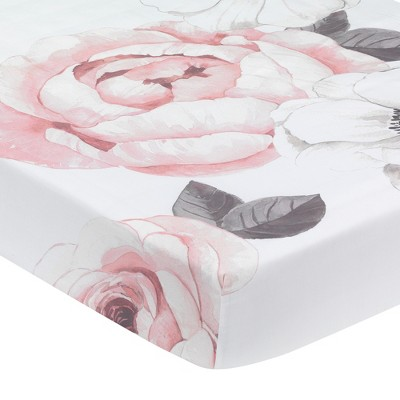 Lambs & Ivy Floral Garden Pink/White Watercolor Cotton Baby Fitted Crib Sheet
