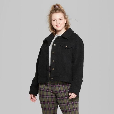 7c954a2d5e0 Women s Plus Size Fuzzy Trucker Jacket - Wild Fable™ Black 3X   Target