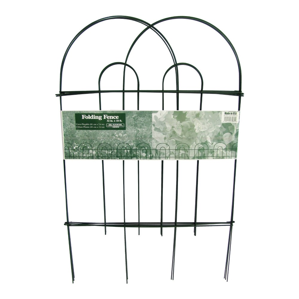 """Image of """"18"""""""" x 10' Steel Folding Wire Border Fence 12 Pack - Green - Glamos Wire"""""""