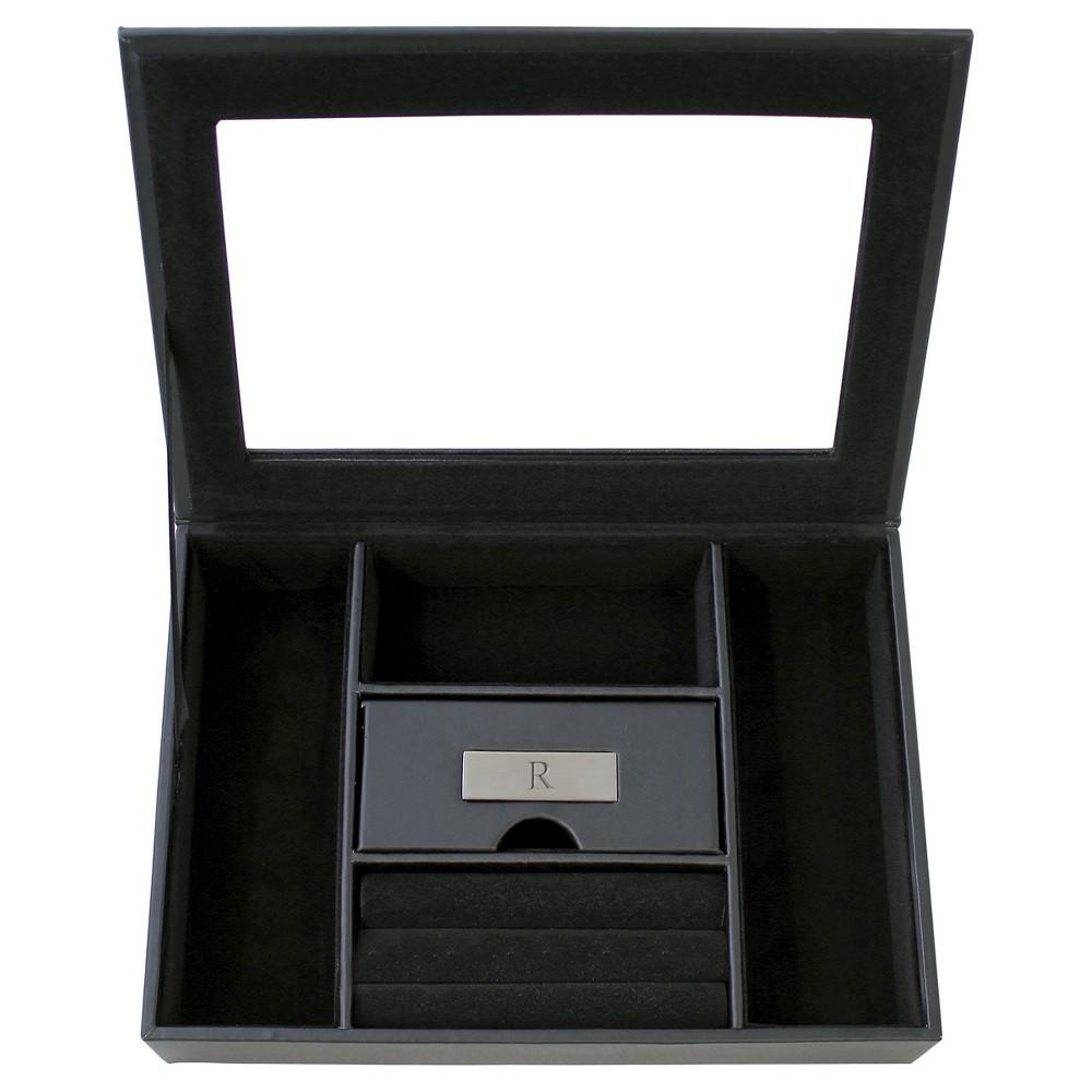 Monogram Custom Valet Groomsmen Gift Jewelry Box - R, Black