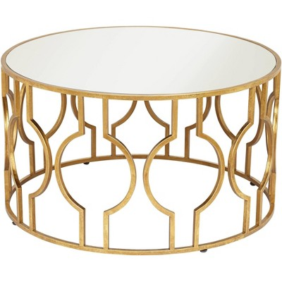 "55 Downing Street Fara 35 1/2"" Wide Gold Leaf Round Coffee Table"