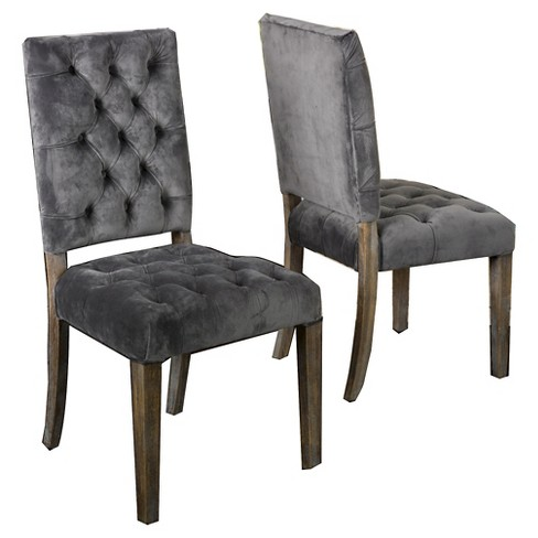 Set of 2 Saltillo New Velvet Dining Chair Charcoal - Christopher Knight Home - image 1 of 4