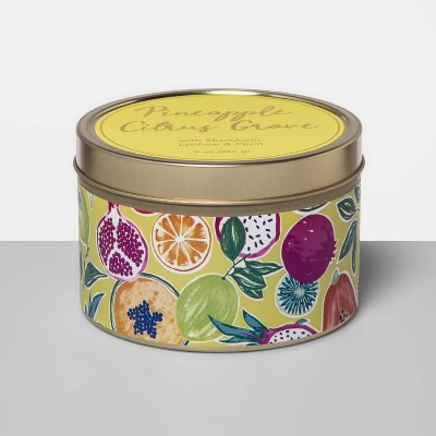 9oz Paper-Wrapped Tin Jar Candle Pineapple Citrus Grove - Opalhouse™