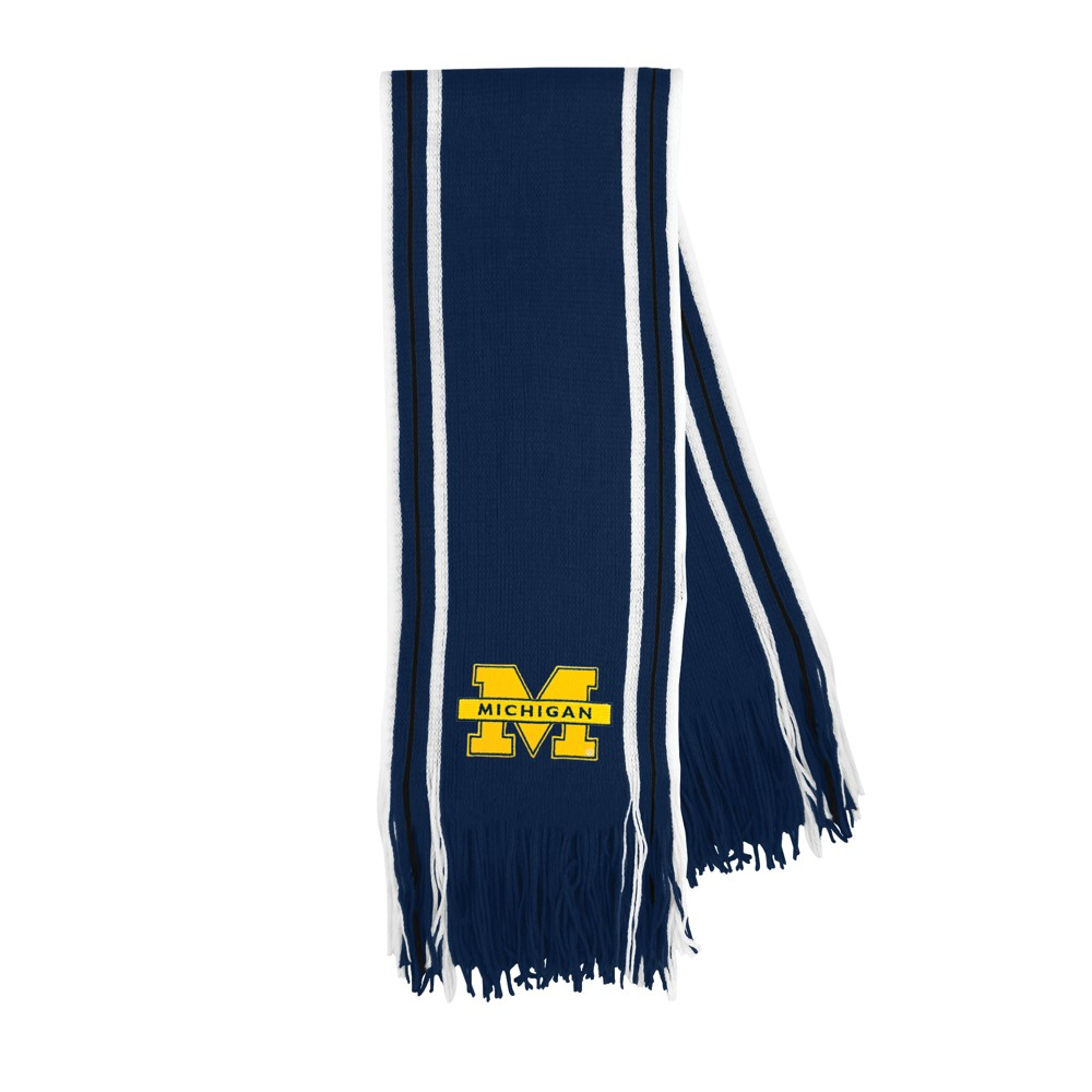 NCAA Michigan Wolverines Little Earth Striped Fringe Scarf, Adult Unisex, Michigan Wolverines Ii