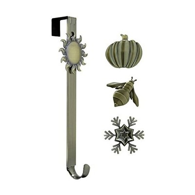 Haute Decor Adjustable Length Assembly Free Holiday Wreath Metal Decorative Door Hanger with Sun, Snowflake, Bee, and Pumpkin, Brass