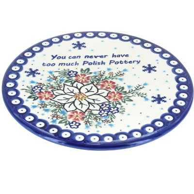 Blue Rose Polish Pottery Never Too Much Polish Pottery Trivet
