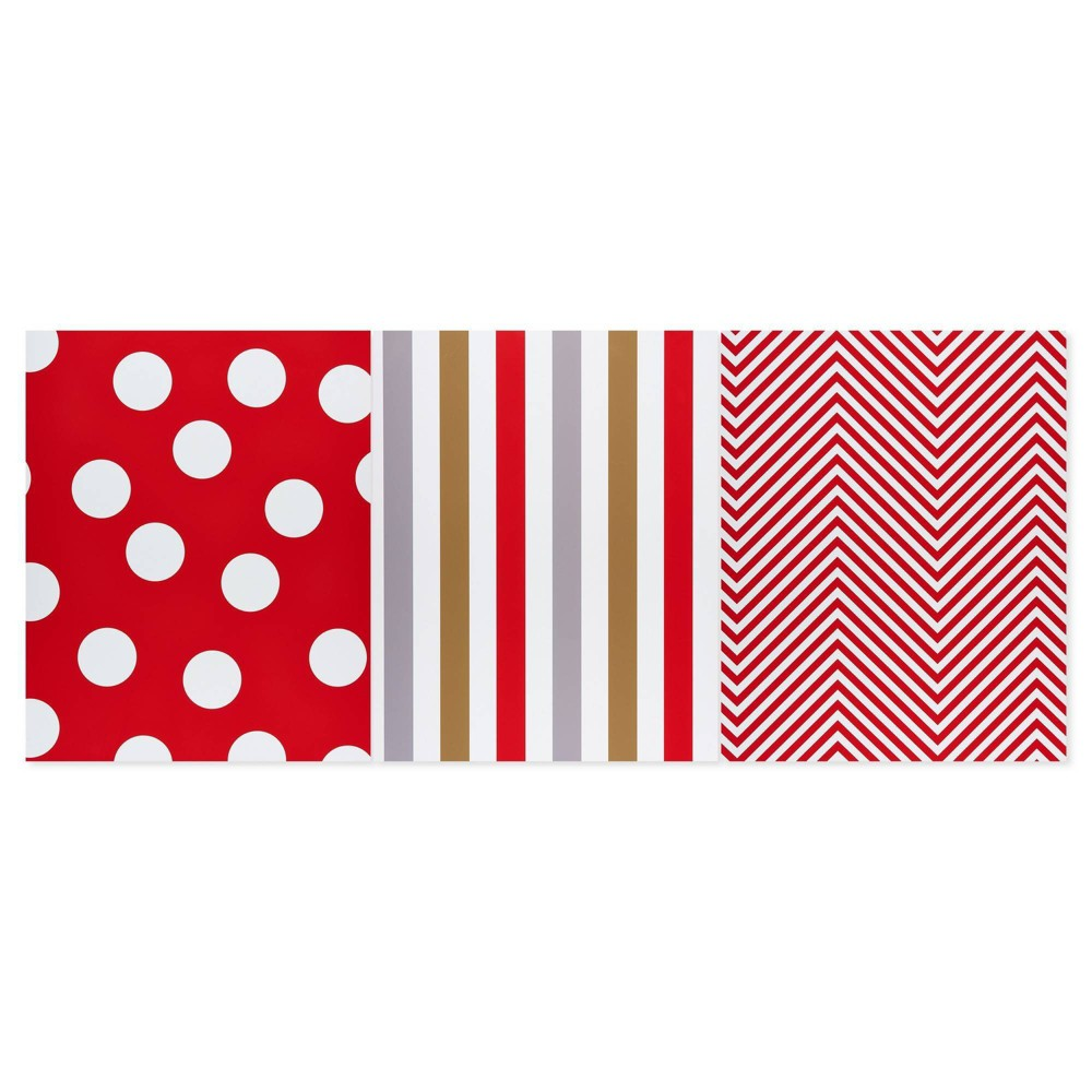 Image of 12ct Stripe Polka Dot and Zigzag Gift Wrap Sheets - American Greetings, White
