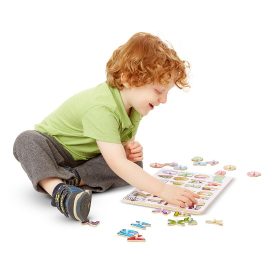 Melissa & Doug Fish Colors, ABC, and Numbers Wooden Mix 'n Match Peg Puzzle Bundle image number null