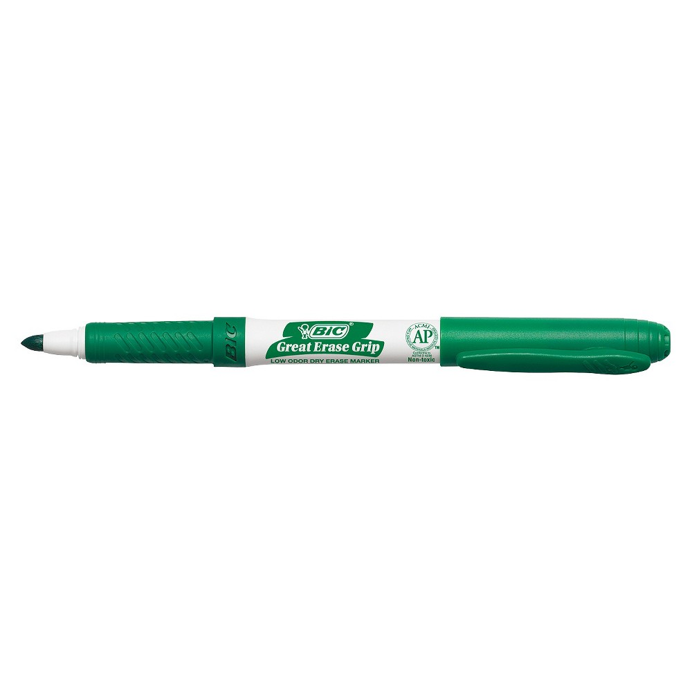 Bic Great Erase Grip Dry Erase Markers, Fine Point, Green, Dozen