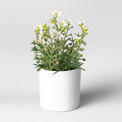 "8"" x 6"" Artificial Flower Arrangement White - Threshold™"