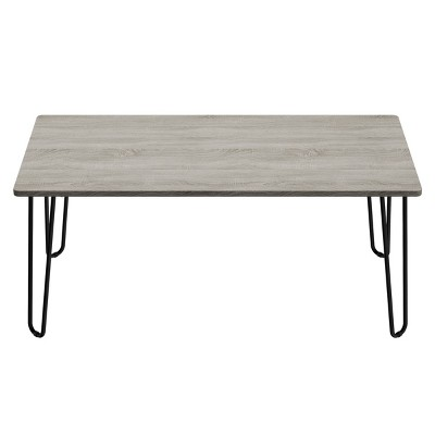 Coffee Table with Hairpin Legs Woodgrain Look Gray - Lavish Home