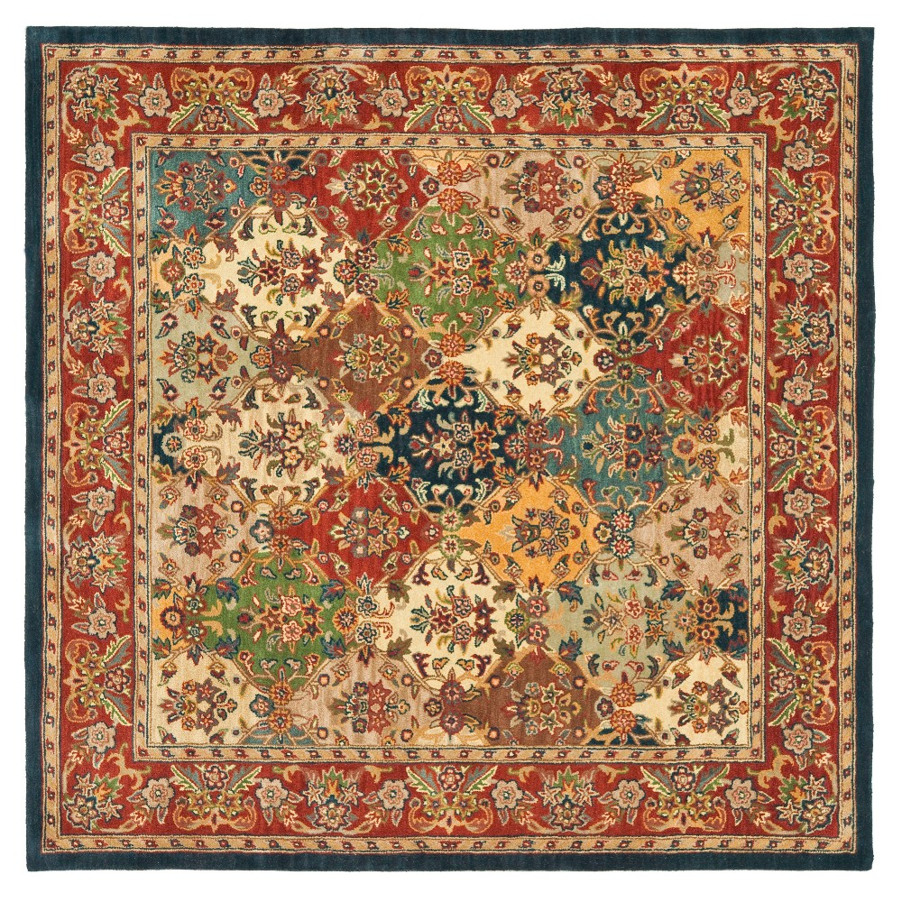 Floral Tufted Square Area Rug 10'X10' - Safavieh, Multi/Red