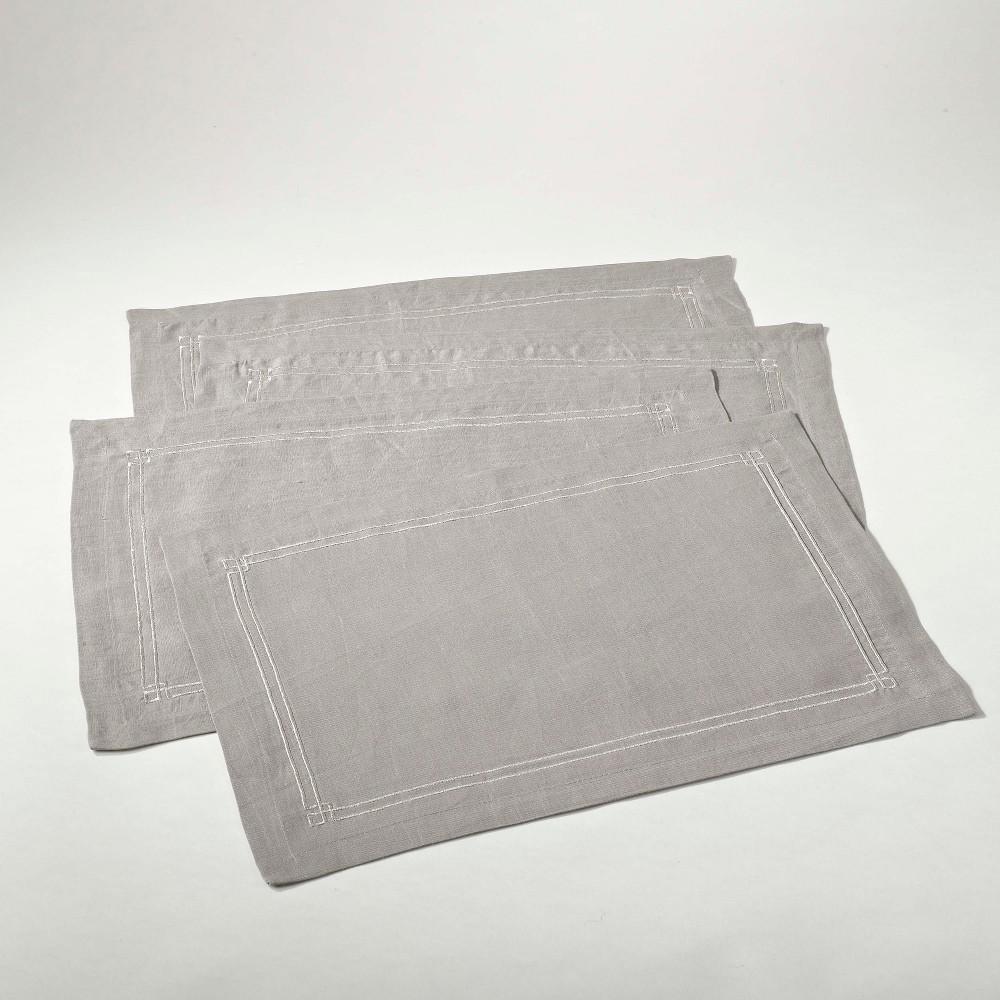 4pk Embroidered Design Placemat Gray Saro Lifestyle