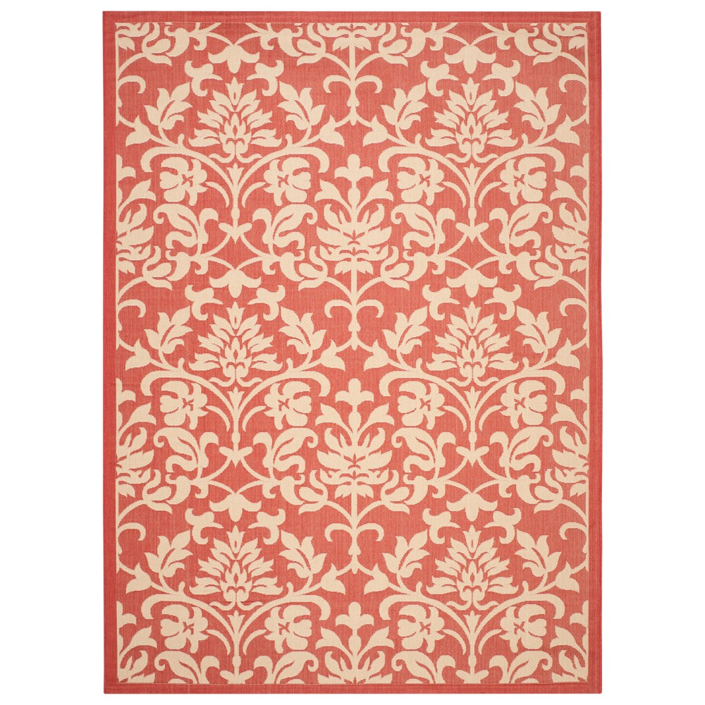 Opole Rectangle 8'x11' Outdoor Patio Rug - Red / Natural - Safavieh