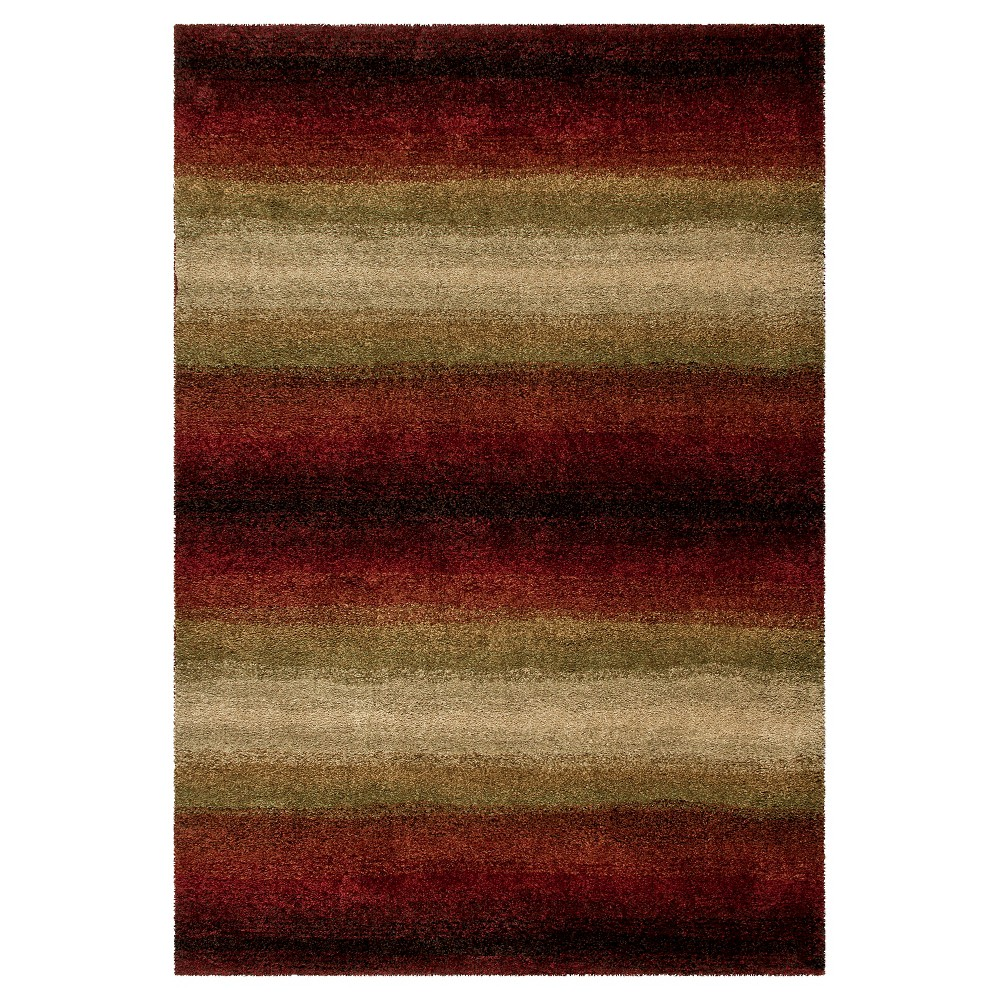 Red Stripe Woven Area Rug - (5'3