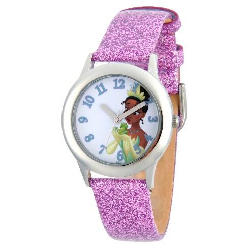 Girls' Disney Princess Tiana Stainless Steel Watch - Purple - image 1 of 2