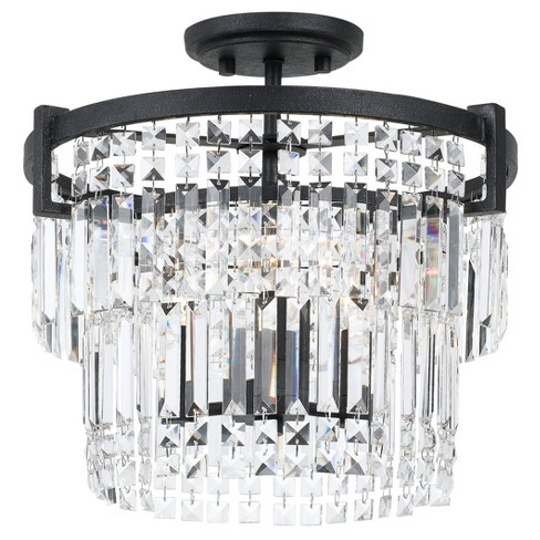 Murdo Crystal Semi Flush Mount/Drop Pendant Dual Function Fixture 60W X 3 - image 1 of 1