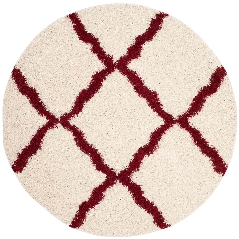 6' Quatrefoil Design Loomed Round Area Rug Ivory/Red - Safavieh