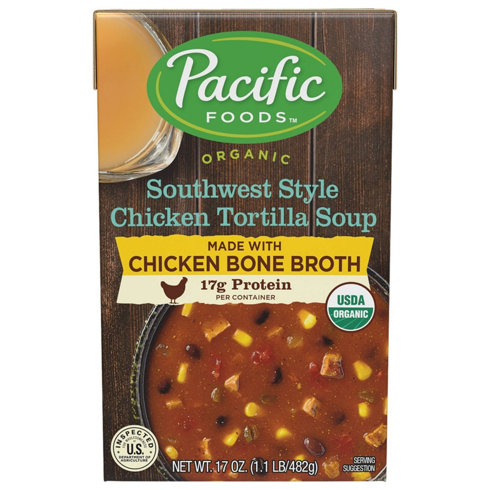 Pacific Organic Chicken Tortilla Bone Broth Soup - 17oz