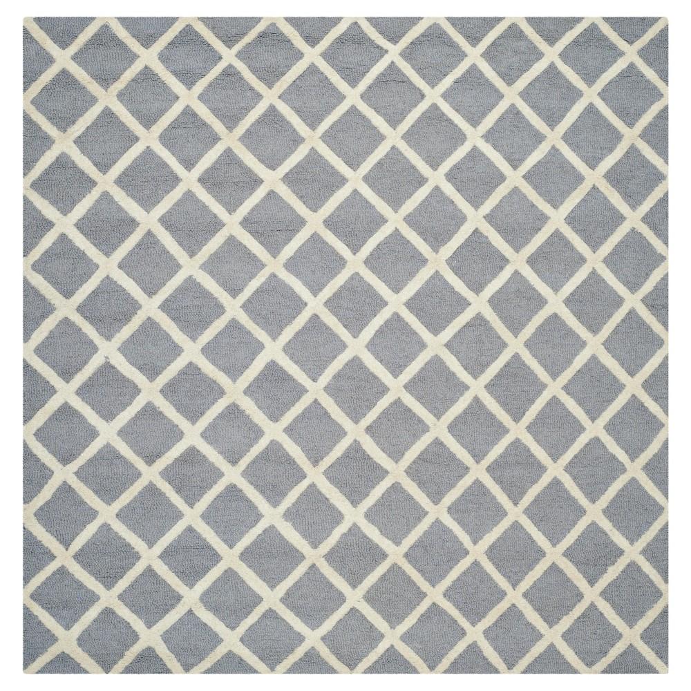6'X6' Trellis Area Rug Silver/Ivory - Safavieh