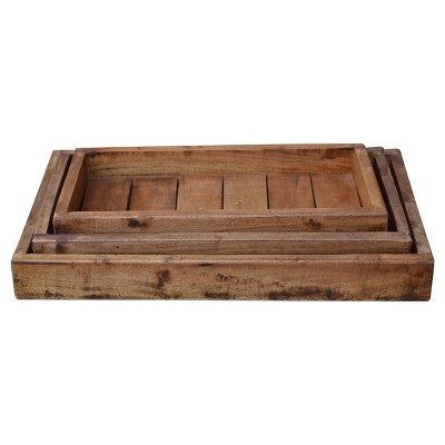 Recycled Wood Trays Brown 3pk - A&B Home