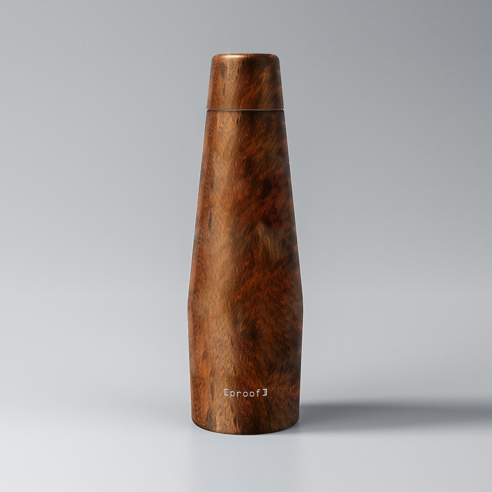 Proof 18oz Double-Wall Vacuum Insulated Medical Grade Steel Water Bottle Woodgrain, Antique Wood