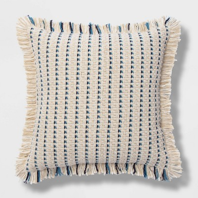 Embroidered Woven Square Throw Pillow Blue - Opalhouse™