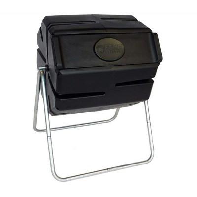 FCMP Outdoor Portable 37 Gallon 1 Piece Tumbling Composter Bin for Soil, Black