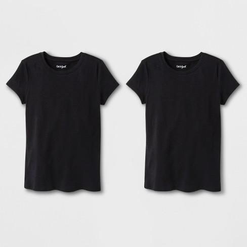 Girls  2pk Solid Short Sleeve T-Shirt - Cat   Jack™ Black   Target 1482e12afe6
