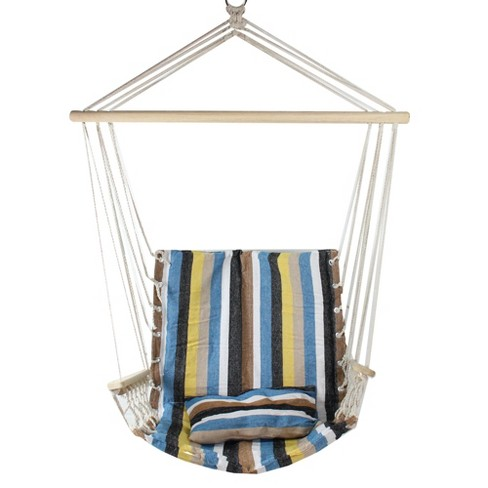 """Northlight 35.25"""" x 37"""" Striped Hammock Chair with Pillow and Armrests - Blue/Brown - image 1 of 1"""