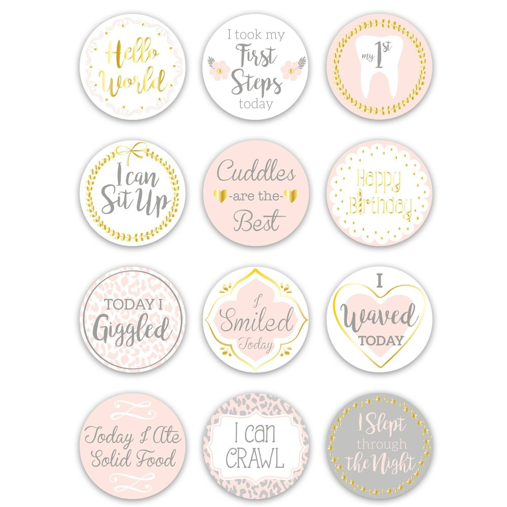 Image of The Peanutshell Baby's Firsts Milestone Stickers, Gray