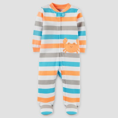 Baby Boys' Crab Cotton Stripe Sleep N' Play - Just One You™ Made by Carter's® Blue/Orange NB