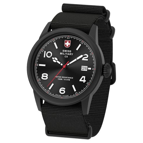 Men's Swiss Military by Charmex Vintage black tone nato band watch - Black - image 1 of 2