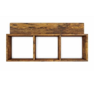 "31.5"" x 15.7"" Rustic Floating Triple Cubby Shelf Aged Wood - Danya B."