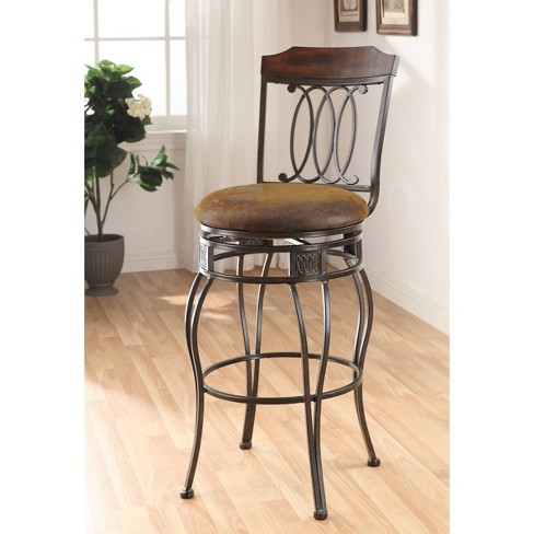 Set of 2 Antique Metal Bar Chairs with Swivel Brown - Benzara - image 1 of 1