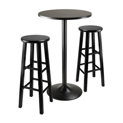 "3pc 29"" Obsidian Bar Height Dining Set Wood/Black - Winsome"