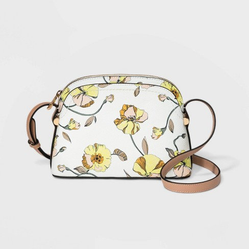 Floral Print Dome Crossbody Bag - A New Day™ White - image 1 of 3