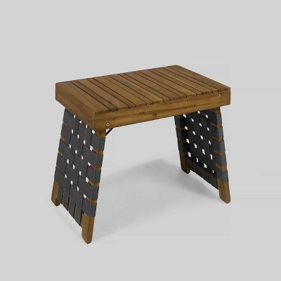 Huntsville Acacia Wood Foldable Side Table - Brown Patina/Gray - Christopher Knight Home