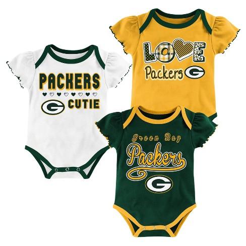 Green Bay Packers Baby Girls 3pk Bodysuit Set 18 M Target