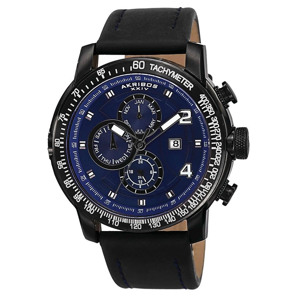 Men's Akribos Xxiv Quartz Genuine Leather Strap Watch - Blue, Stainless Steel/Blue