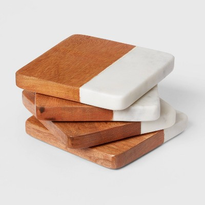 4pk Marble and Wood Coasters - Threshold™