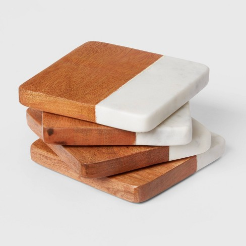 4pk Marble and Wood Coasters - Threshold™ - image 1 of 3