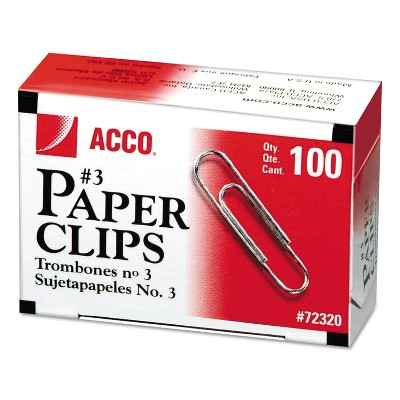 Acco Smooth Economy Paper Clip Metal Wire #3 Silver 100/Box 10 Boxes/Pack 72320