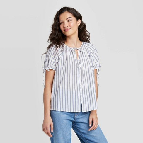 Women's Short Sleeve Button-Front Top - Universal Thread™ - image 1 of 3