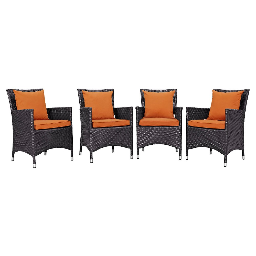Convene 4pk All-Weather Wicker Patio Dining Chairs - Espresso/Orange - Modway, Green