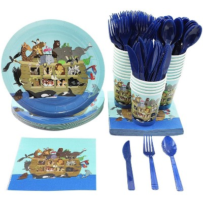Blue Panda Noah's Ark Animals Baby Shower Party Supplies - Plates, Knives, Spoons, Forks, Napkins, and Cups, Serves 24
